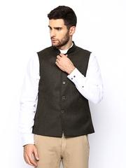 Blackberrys Men Brown Woollen Slim Fit Nehru Jacket