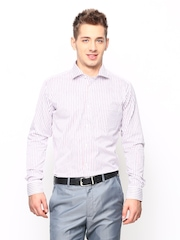 Blackberrys Men White Striped Slim Fit Formal Shirt