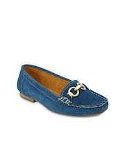 Blue Button Women Blue Loafers