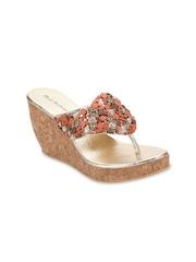 Blue Button Women Brown Sandals