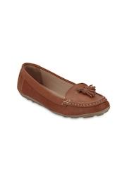 Blue Button Women Tan Brown Loafers