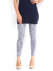 Blue Stripes Women Blue & White Printed Cotton Stretch Leggings