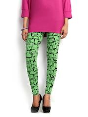 Blue Stripes Women Green & Black Printed Cotton Stretch Leggings