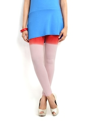 Blue Stripes Women Pink & Red Cotton Stretch Leggings