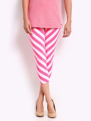 Blue Stripes Women White & Pink Striped Cotton Stretch Capri Leggings