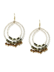 White & Bronze Toned Beaded Drop Earrings Blueberry