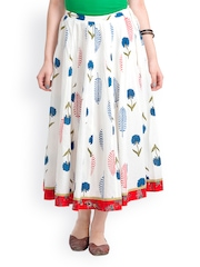 Bohemian You White Printed Flared Skirt