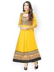 Bollywood Trends Yellow Georgette Semi-Stitched Dress Material
