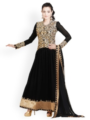 Bollywood Trends Black Embroidered Semi-stitched Dress Material