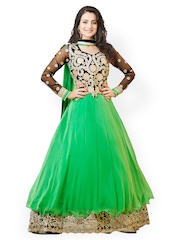 Bollywood Trends Green Embroidered Semi-stitched Dress Material