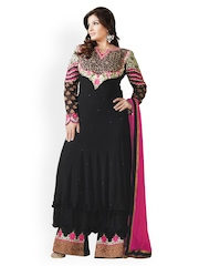 Bollywood Trends Black & Pink Embroidered Georgette Semi-Stitched Dress Material
