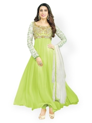 Bollywood Trends Lime Green Embroidered Semi-stitched Dress Material