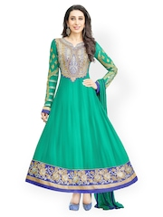 Bollywood Trends Turquoise Blue Embroidered Semi-stitched Dress Material