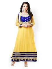 Bollywood Trends Yellow Embroidered Semi-stitched Dress Material