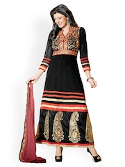 Bollywood Trends Black Embroidered Georgette Semi-Stitched Dress Material