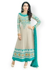 Bollywood Trends Off-White & Teal Blue Semi-Stitched Dress Material