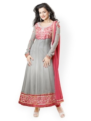 Bollywood Trends Grey Embroidered Semi-stitched Dress Material