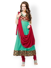 Bollywood Trends Green & Maroon Chanderi Cotton Semi-Stitched Dress Material