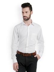 Bombay High Men White Striped Slim Fit Formal Shirt