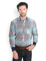 Bombay High Men Blue & White Checked Slim Fit Smart-Casual Shirt