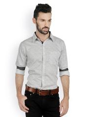 Bombay High Men White & Black Printed Slim Fit Smart-Casual Shirt