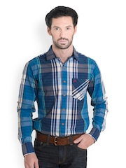 Bombay High Men Blue Checked Slim Fit Smart-Casual Shirt
