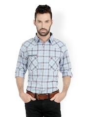 Bombay High Men Blue & Black Checked Slim Fit Smart-Casual Shirt