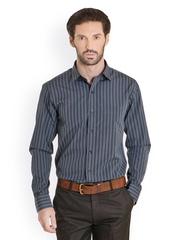 Bombay High Men Grey & Black Striped Slim Fit Formal Shirt
