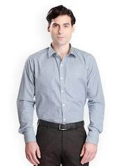 Bombay High Men Blue & White Checked Slim Fit Formal Shirt