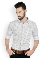 Bombay High Men White & Blue Printed Slim Fit Smart-Casual Shirt