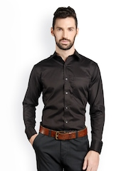 Bombay High Men Black Striped Slim Fit Formal Shirt