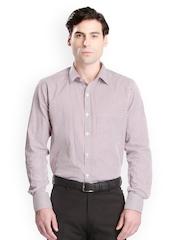Bombay High Men Navy & Red Striped Slim Fit Formal Shirt