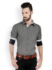 Bombay High Men Black & White Printed Slim Fit Smart-Casual Shirt