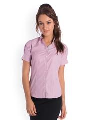 Bombay High Women Pink & White Striped Slim Fit Formal Shirt