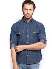 Breakbounce Men Blue Bear Hug Slim Fit Casual Shirt