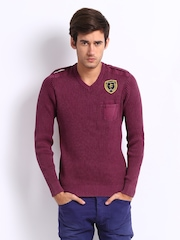 Breakbounce Men Burgundy Breezy Regular Fit Sweater