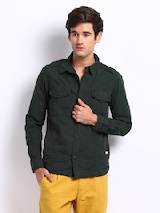 Breakbounce Men Dark Green Torrid Slim Fit Casual Shirt