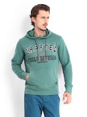 Breakbounce Men Green Hooded Buddy Hug Regular Fit Sweatshirt