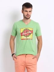 Breakbounce Men Light Green Printed ShineUp T-shirt