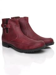 Breakbounce Men Maroon Leather Boots