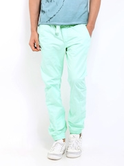 Breakbounce Men Mint Green Cairo Buddy Hug Regular Fit Trousers