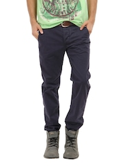 Breakbounce Men Navy Blue Boons Slim Fit Chinos