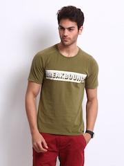 Breakbounce Men Olive Green Lucid Bear Slim Fit T-shirt