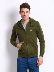 Breakbounce Men Olive Green Striker Hooded Sweatshirt