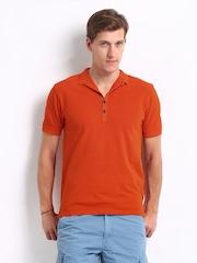 Breakbounce Men Orange Excelsior Bear Slim Fit Polo T-shirt