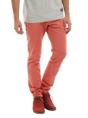 Breakbounce Men Peach Booster Slim Fit Trousers