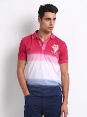 Breakbounce Men Pink & white Balfour Bear Slim Fit Polo T-shirt