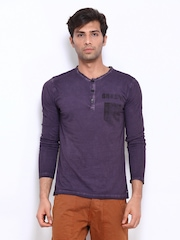 Breakbounce Men Purple Verde Bear Slim Fit Henley T-shirt
