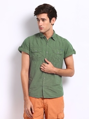 Breakbounce Men Military Green Neo Slim Fit Casual Shirt