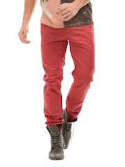 Breakbounce Men Tomato Red Suave Slim Fit Chino Trousers